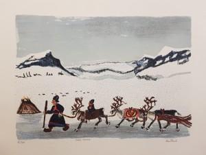 Lars Pirak litografi 3000kr